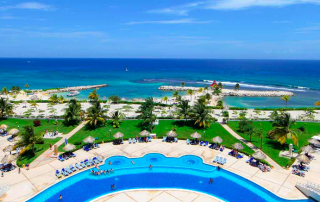 Huge beachfront pool at Grand Bahia Principe Jamaica family all inclusive beach resort